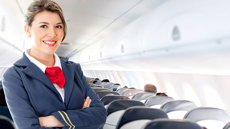 stewardess smiling plane